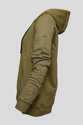 BESSA Unisex Kapüşonlu Sweatshirt Kanguru Cepli Haki 2