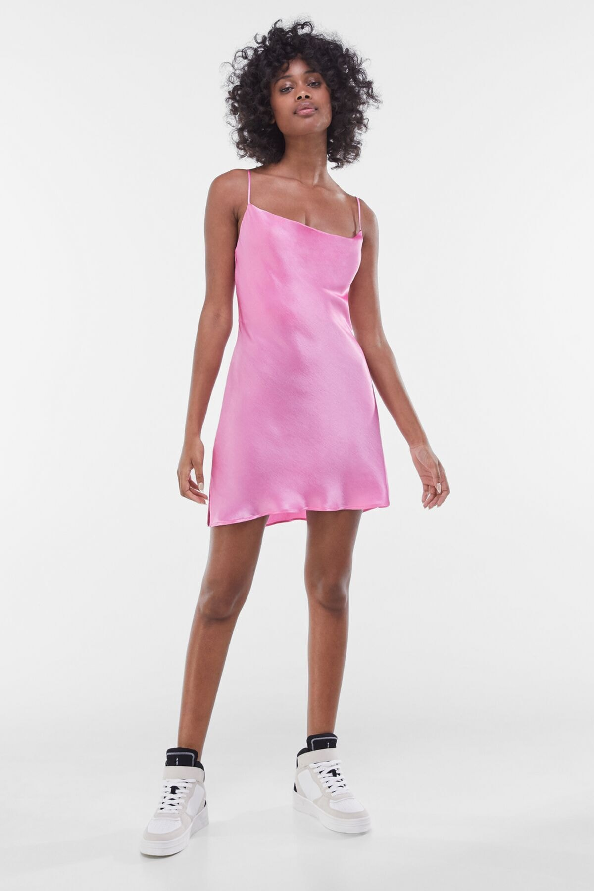 Bershka Kadın Fuşya Saten Mini Slip Elbise 00581168 3