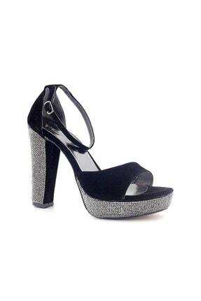 PUNTO Kadın Siyah Süet Topuklu Ayakkabı 655101 0