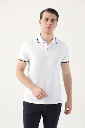 D'S Damat Ds Damat Slim Fit Beyaz Pike Dokulu T-shirt 1