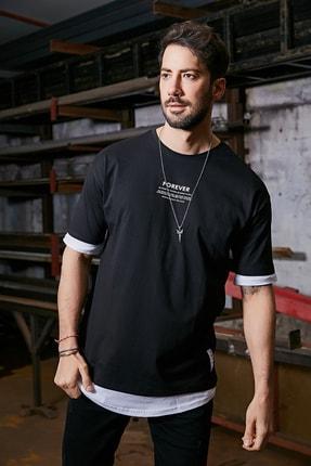 Sateen Men Erkek Siyah Baskılı T-Shirt 1
