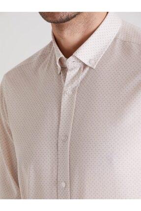 Dufy Bej Desenli Pamuklu Polyester Erkek Gömlek - Slım Fıt 1