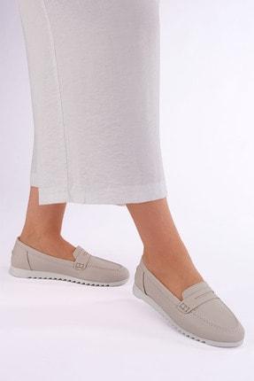 Marjin Kadın Bej Hakiki Deri Loafer Ayakkabı Vonlez 1
