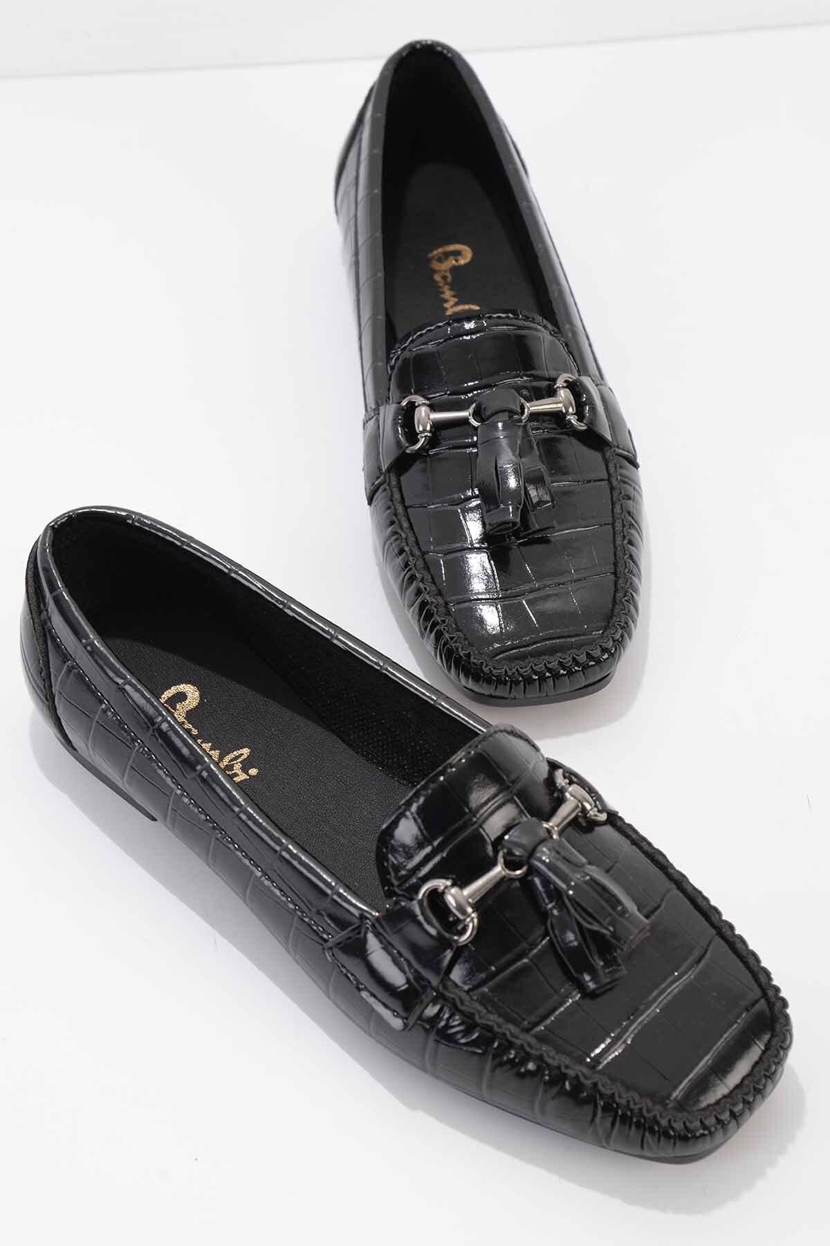 Siyah Kroko Kadın Loafer K01542030311