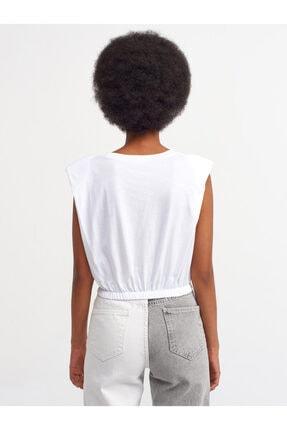 Dilvin Kadın Beyaz Kolsuz Tshırt 3725 3