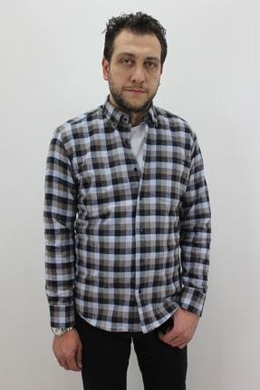 Fistan Store Erkek Kahverengi Ekose / Kareli Klasik Kesim Kışlık Gömlek Fistan Erkek Gömlek BECESSO-GÖMLEK 013