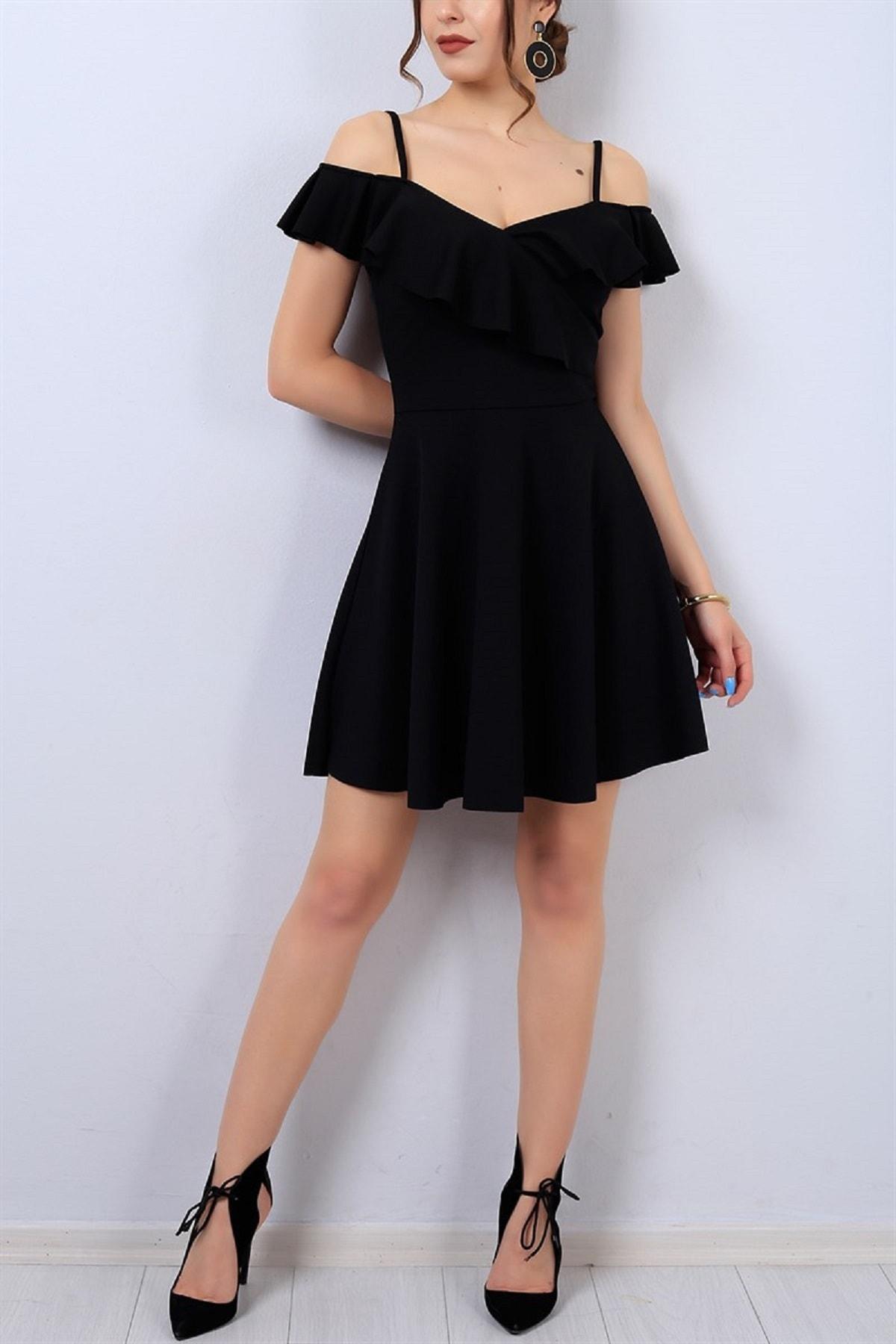 Esnek Krep Kumaş Yakası Volan Detaylı Ince Askılı Kiloş Siyah Abiye Elbise Gece Elbisesi