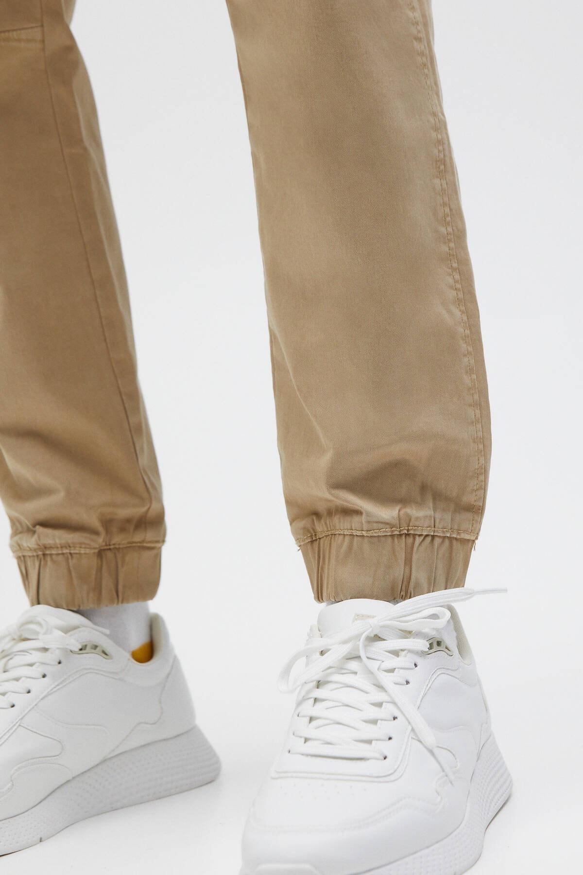 Pull & Bear Erkek Bej Büzgü İpli Basic Jogging Fit Pantolon - En Az %50 Organik Pamuklu 04676525 4