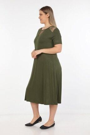 Womenice Kadın Haki Omuzları Önü Fileli Büyük Beden Elbise 2