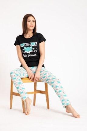 Pemilo Kadın Siyah Tilki Desenli Kısa Kol Pijama Takımı 0