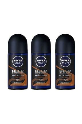 Nivea Men Deep Dimension Espresso Roll-on Deodorant 50 ml Erkek 3 Adet 0
