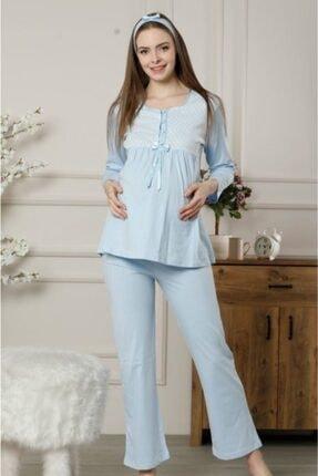 ALİMER Hamile Lohusa Mavi Pijama 2378ukm 1