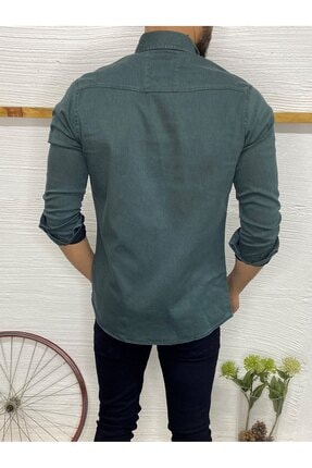 Gepetto Man Erkek Petrol Yeşili Slim-fit Kot Gömlek 2