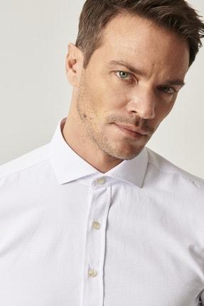 Altınyıldız Classics Erkek Beyaz Tailored Slim Fit Dar Kesim İtalyan Yaka Armürlü Gömlek 3