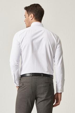Altınyıldız Classics Erkek Beyaz Tailored Slim Fit Dar Kesim İtalyan Yaka Armürlü Gömlek 4