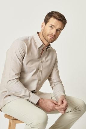 Altınyıldız Classics Erkek Kahverengi Tailored Slim Fit Dar Kesim Düğmeli Yaka %100 Koton Gömlek 0