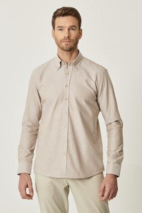 Altınyıldız Classics Erkek Kahverengi Tailored Slim Fit Dar Kesim Düğmeli Yaka %100 Koton Gömlek 1
