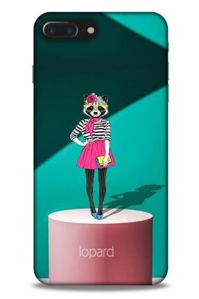 Lopard Apple Iphone 8 Plus Kılıf Funnymax (10) Full Koruma Kılıfı Yeşil Pembe 0