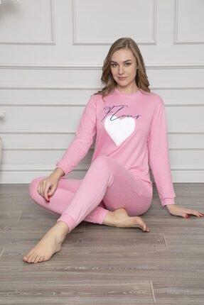Aydoğan Kadın Pembe Termal Üstü Baskılı Altı Düz Pijama Takımı 2