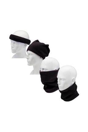 Streak Çok Amaçlı Kışlık Bay Bayan Polar Boyunluk Bere Şapka 1