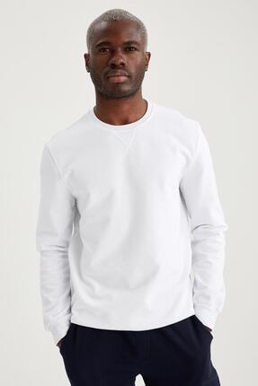 Defacto Erkek Beyaz Regular Fit Bisiklet Yaka Basic Sweatshirt 4