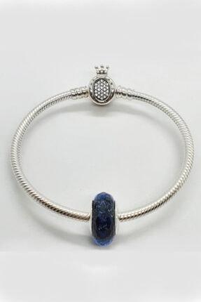 Triaboz Kadın Mavi Pandora Bileklik Uyumlu Cam Charm 3