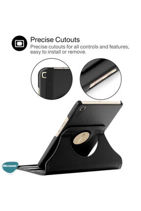 Samsung Microsonic Galaxy Tab A7 T500 Kılıf 360 Rotating Stand Deri Siyah 2