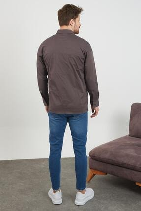 Enuygunenmoda Erkek Slim Fit Keten Gömlek Antrasit 4