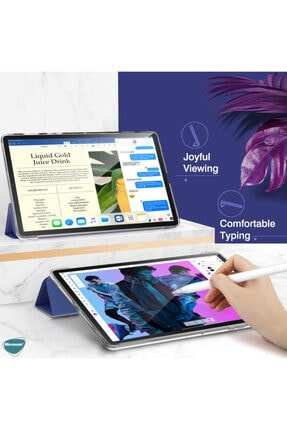 Huawei Microsonic Matepad Pro 10.8'' Kılıf Slim Translucent Back Smart Cover Mor 2