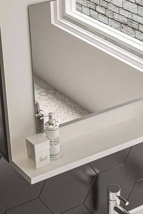 bluecape Beyaz 60x45 Raflı Banyo Dolabı Wc Ofis Çocuk Yatak Odası Bahçe Lavabo Aynası 2