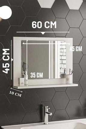 bluecape Beyaz 60x45 Raflı Banyo Dolabı Wc Ofis Çocuk Yatak Odası Bahçe Lavabo Aynası 3