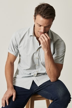 Altınyıldız Classics Erkek Haki Regular Fit Kısa Kollu Gömlek 1