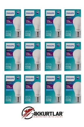 Philips Essential Led Ampul 9w - 60w E27 Beyaz Işık (12 Li Paket ) 1