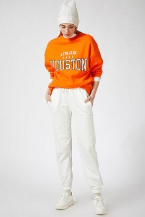 Happiness İst. Kadın Oranj Baskılı Polarlı Sweatshirt HF00169 2