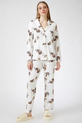 Happiness İst. Kadın Ekru Kaplan Desenli Viskon Pijama Takımı DD00814 1