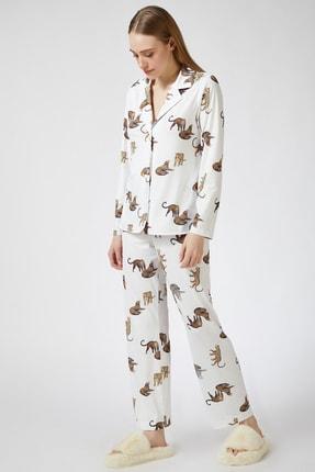 Happiness İst. Kadın Ekru Kaplan Desenli Viskon Pijama Takımı DD00814 2