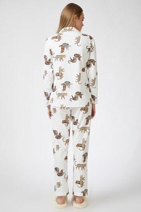 Happiness İst. Kadın Ekru Kaplan Desenli Viskon Pijama Takımı DD00814 3