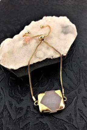 Dr. Stone Dr Stone Golden Pembe Kuvars Taşı 22k Altın Kaplama El Yapımı Kadın Bileklik Tkrb14 0