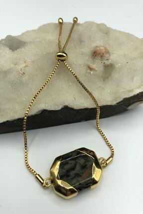 Dr. Stone Dr Stone Golden Serpantin- Yılan Taşı 22k Altın Kaplama El Yapımı Kadın Bileklik Tkrb12 0