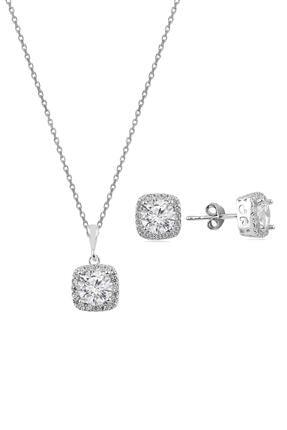 Söğütlü Silver Gümüş Zirkon Taşlı Kare Pırlanta Montürlü Gümüş Ikili Set 0