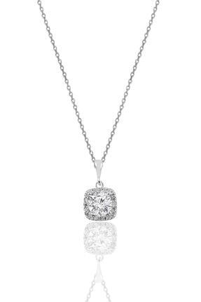 Söğütlü Silver Gümüş Zirkon Taşlı Kare Pırlanta Montürlü Gümüş Ikili Set 1
