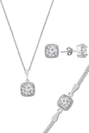 Söğütlü Silver Gümüş Zirkon Taşlı Kare Pırlanta Montürlü Gümüş Üçlü Set 0