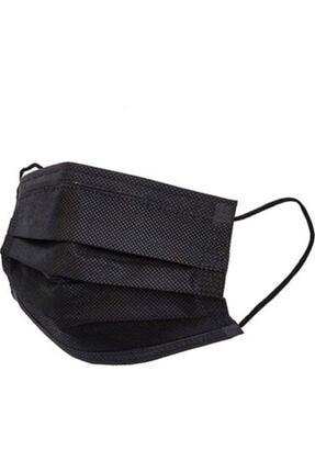 Medikal Maske Siyah Telli 3 Katlı Tam Ultrasonik Cerrahi Maske 50 Adet Afgtekmaskblack 0