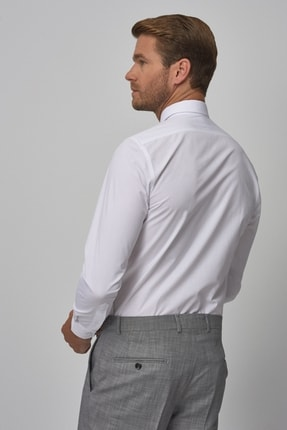 Altınyıldız Classics Erkek Beyaz Tailored Slim Fit Klasik Gömlek 3