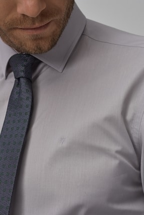 Altınyıldız Classics Erkek Gri Tailored Slim Fit Klasik Gömlek 1