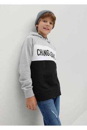 Erkek Çocuk Siyah Yazılı Koton Sweatshirt 77024398