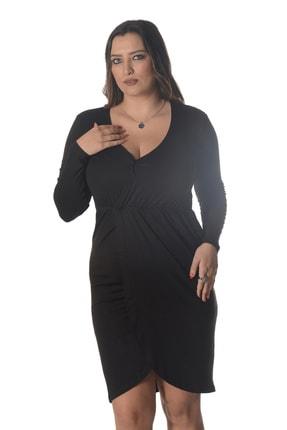 تصویر از Büyük Beden Kruvaze Uzun Kol Örme Viskon Elbise