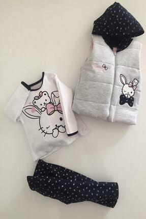 Hippıl Baby Kız Bebek Gri Alt Üst Yelek Bunny 3 Parça Takım 6-12-18 Ay 0