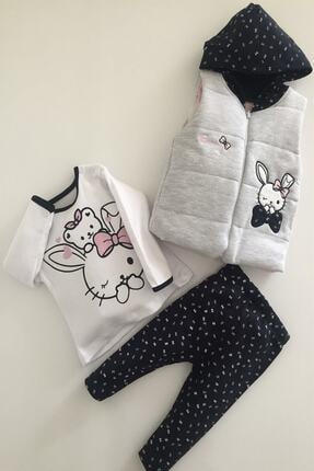 Hippıl Baby Kız Bebek Gri Alt Üst Yelek Bunny 3 Parça Takım 6-12-18 Ay 1