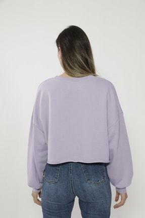 Maken Merry Kadın Özel Tasarım Mantar Lila Crop Sweatshirt 1